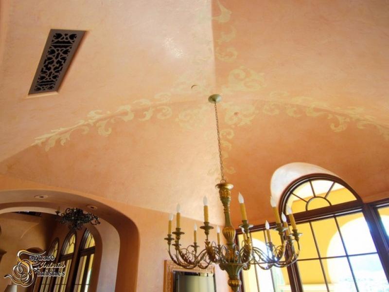Elegant Venetian plaster ceiling detail with custom artwork