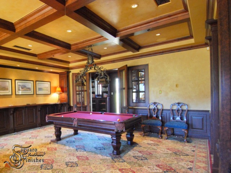 Coffered ceilings and custom Venetian plaster finishes