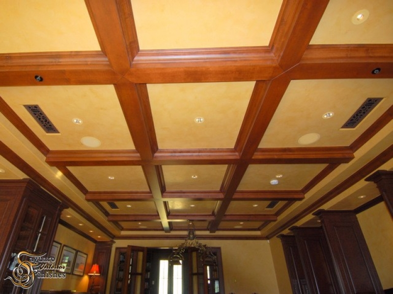 Coffered ceiling detail and Venetian plaster finish