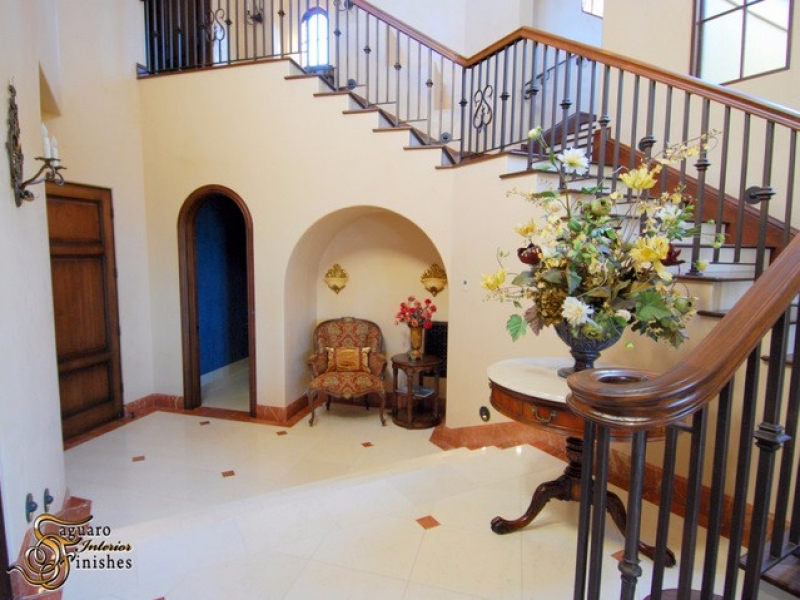 Interior staircase with Venetian plaster finish