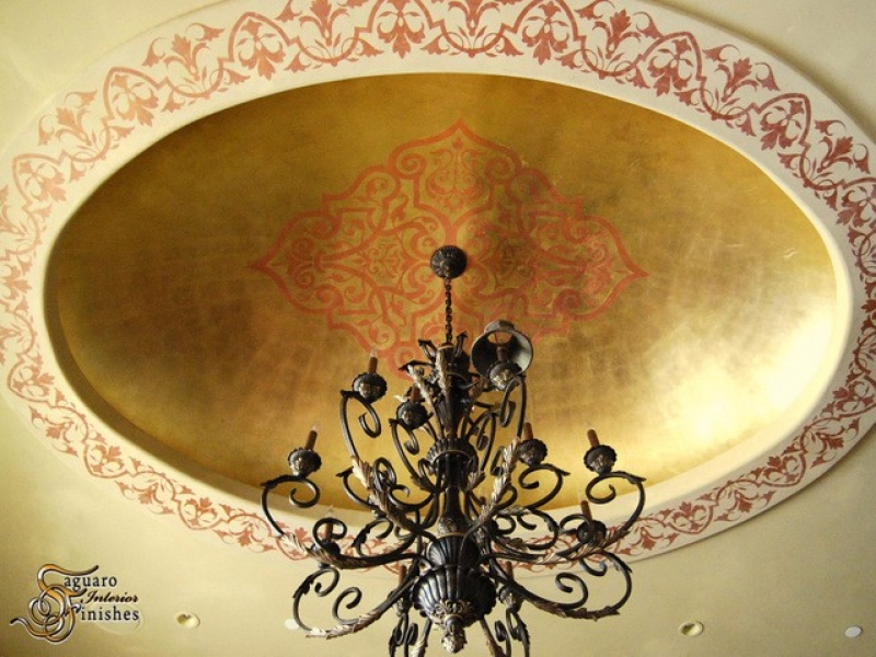 Venetian plaster domed ceiling detail with custom artwork and metallic finish