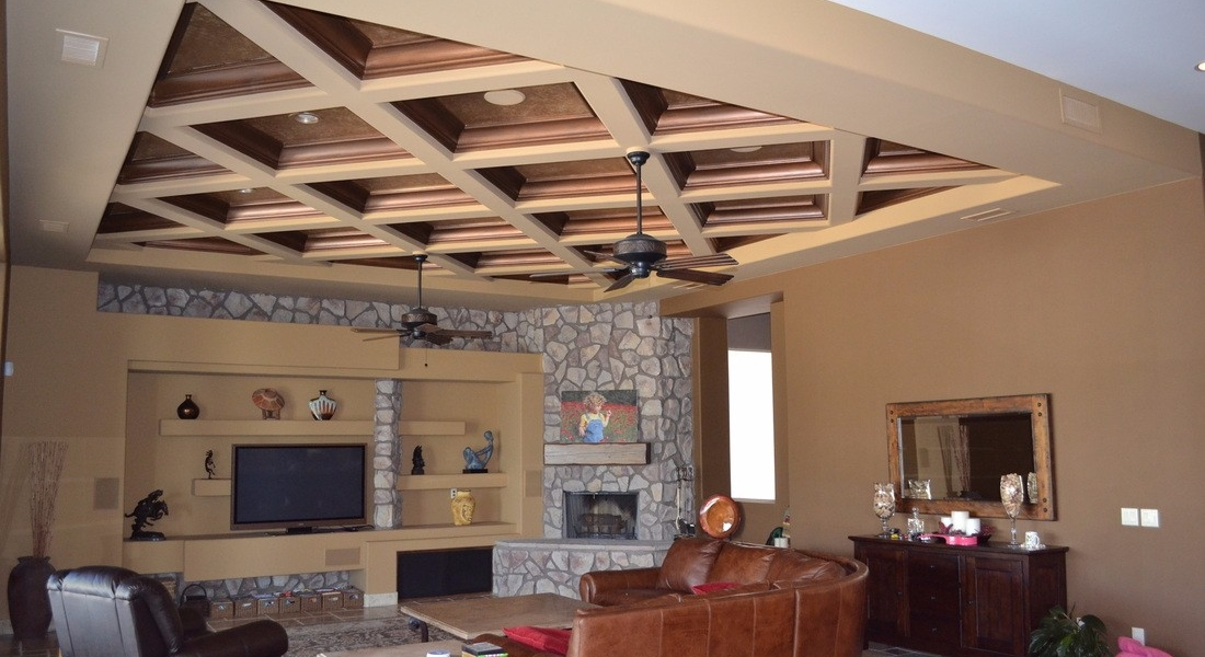 custom living room ceiling and paint