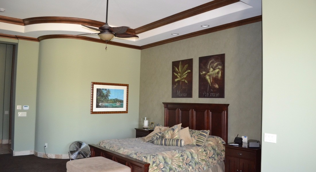 custom painted bedroom and crown molding