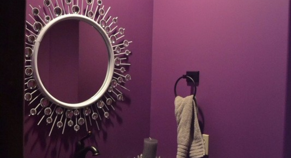 Purple painted bathroom