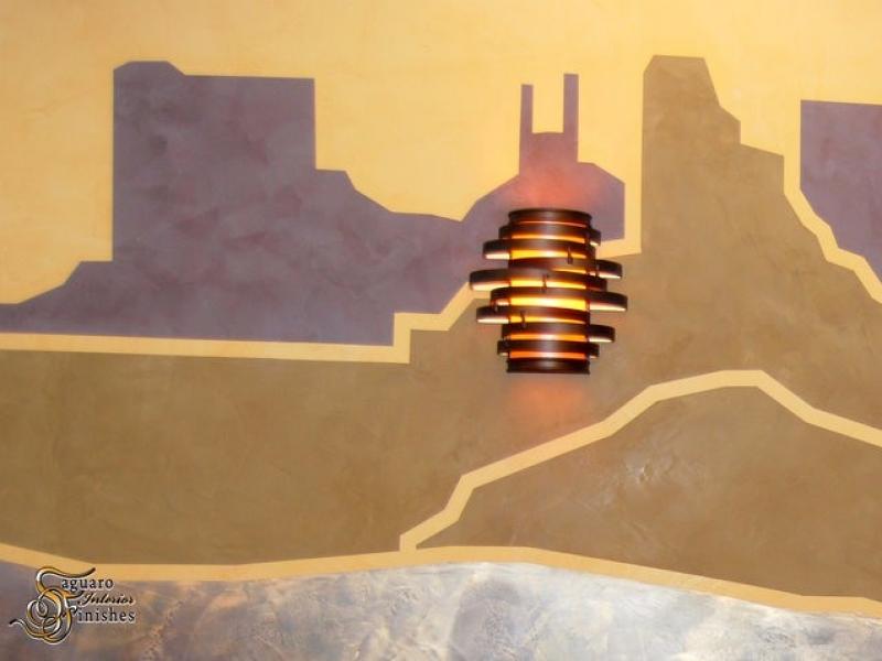 Desert mural detail in medical lobby