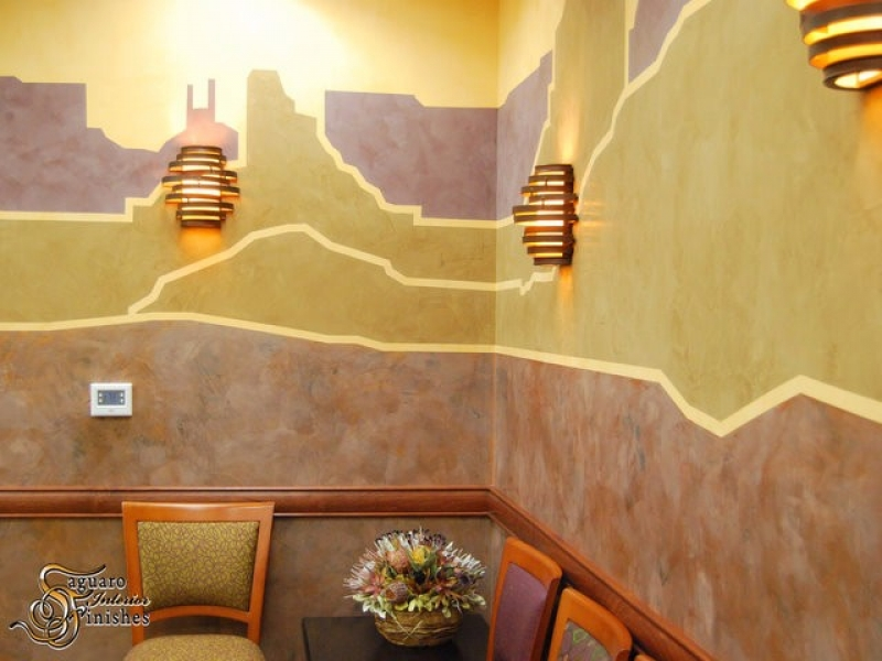 Desert mural detail in medical lobby